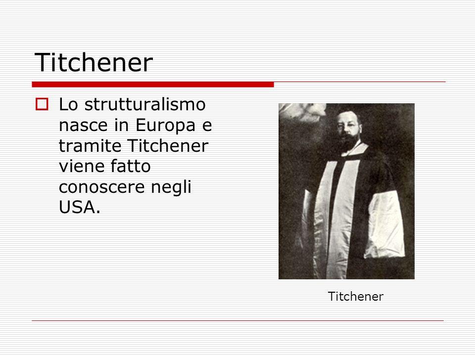 Titchener Lo strutturalismo nasce in Europa e tramite Titchener viene fatto conoscere negli USA.