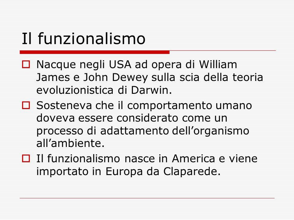 Il funzionalismo Nacque negli USA ad opera di William James e John Dewey sulla scia della teoria evoluzionistica di Darwin.