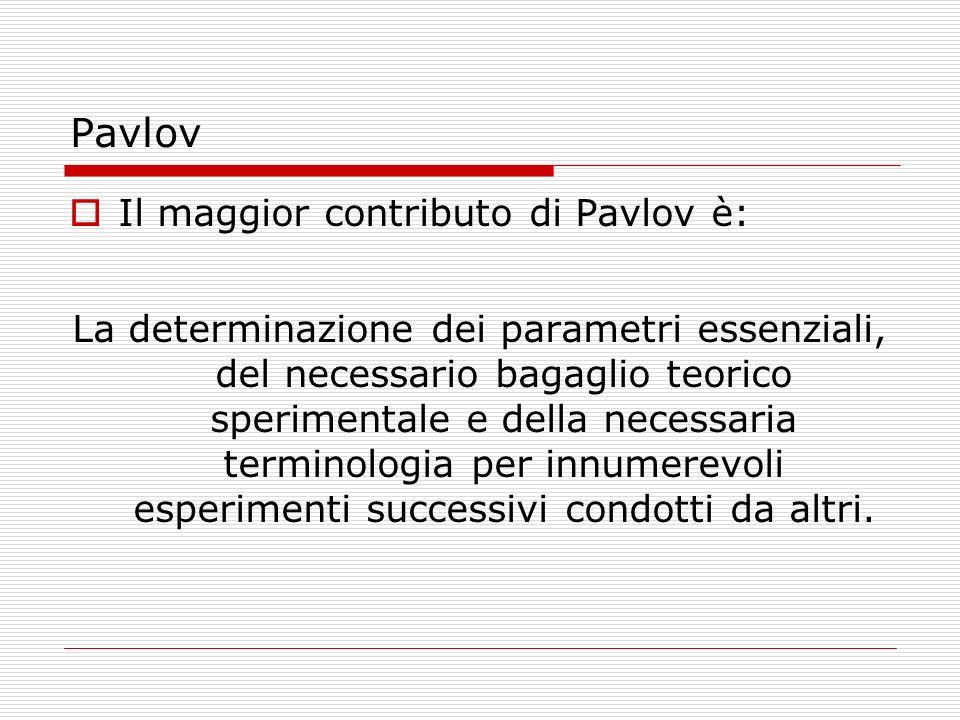 Pavlov Il maggior contributo di Pavlov è: