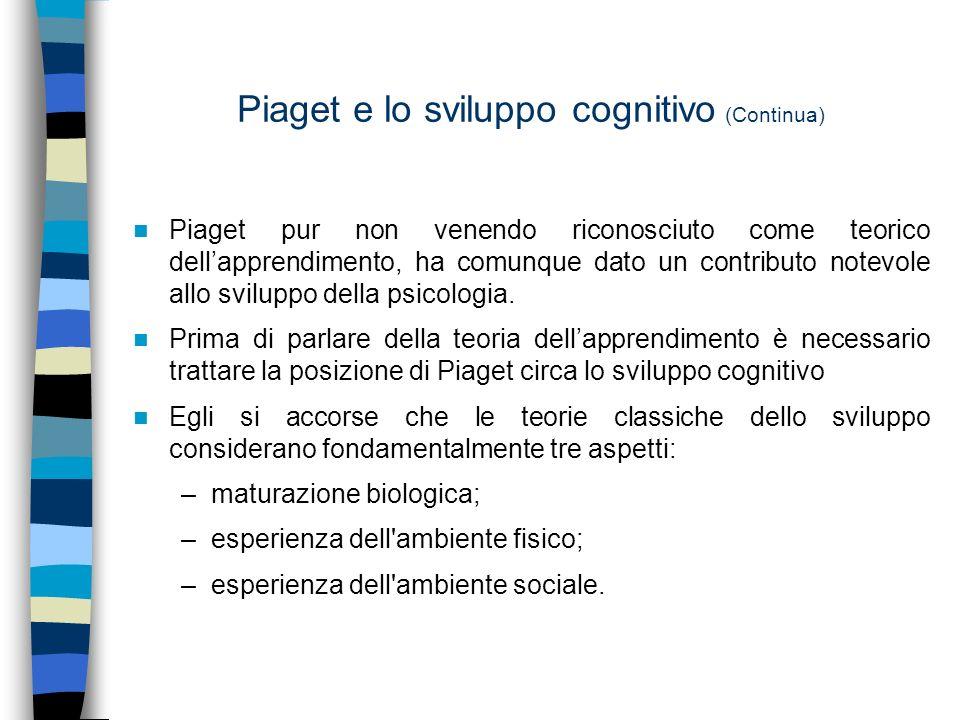 Piaget e lo sviluppo cognitivo (Continua)