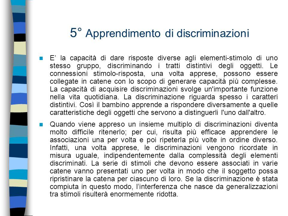 5° Apprendimento di discriminazioni