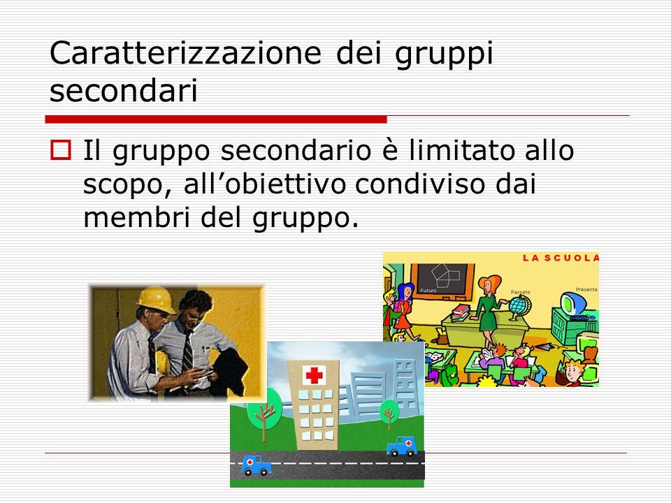 Caratterizzazione dei gruppi secondari