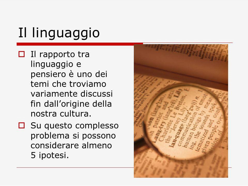 Il linguaggio Il rapporto tra linguaggio e pensiero è uno dei temi che troviamo variamente discussi fin dall'origine della nostra cultura.