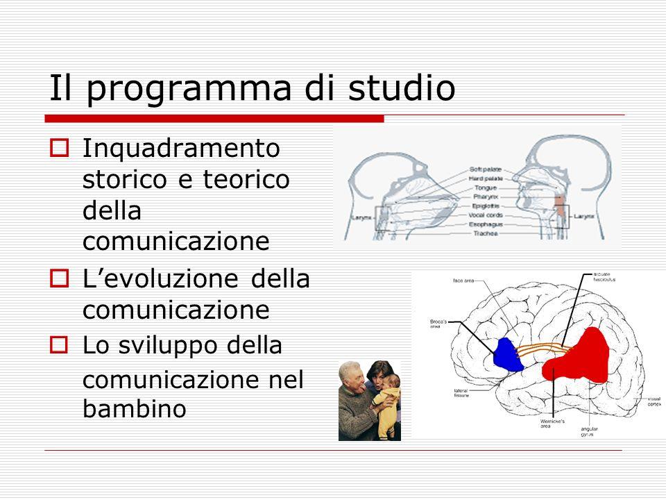 Il programma di studio Inquadramento storico e teorico della comunicazione. L'evoluzione della comunicazione.