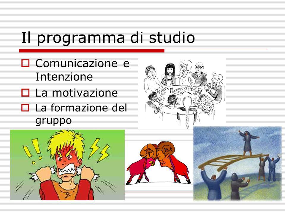 Il programma di studio Comunicazione e Intenzione La motivazione