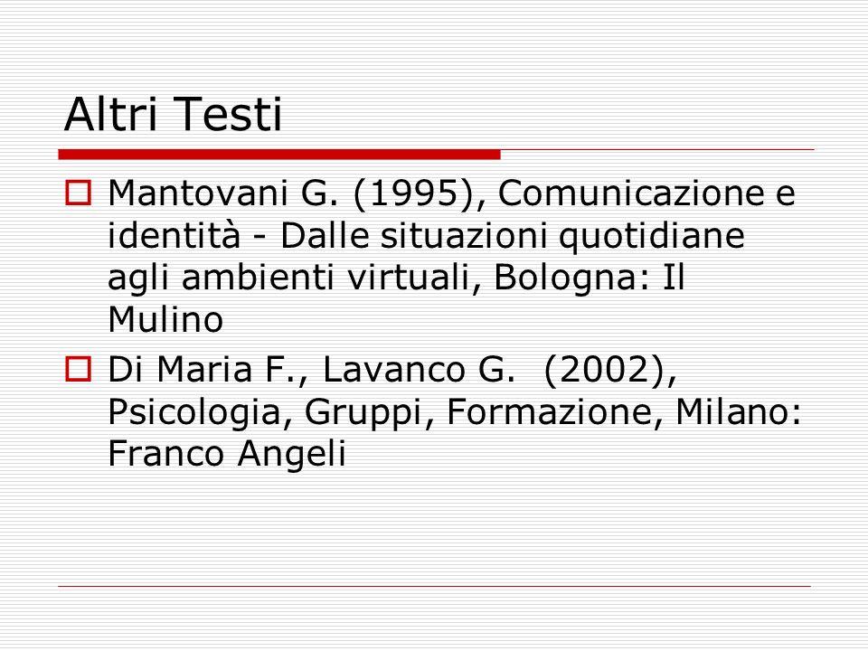 Altri Testi Mantovani G. (1995), Comunicazione e identità - Dalle situazioni quotidiane agli ambienti virtuali, Bologna: Il Mulino.