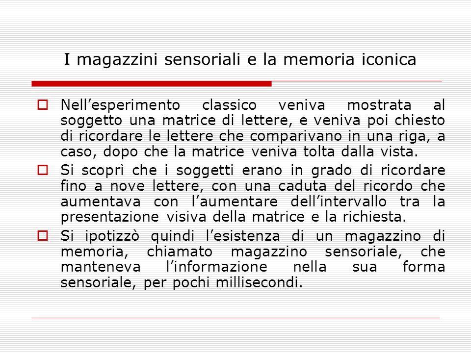 I magazzini sensoriali e la memoria iconica