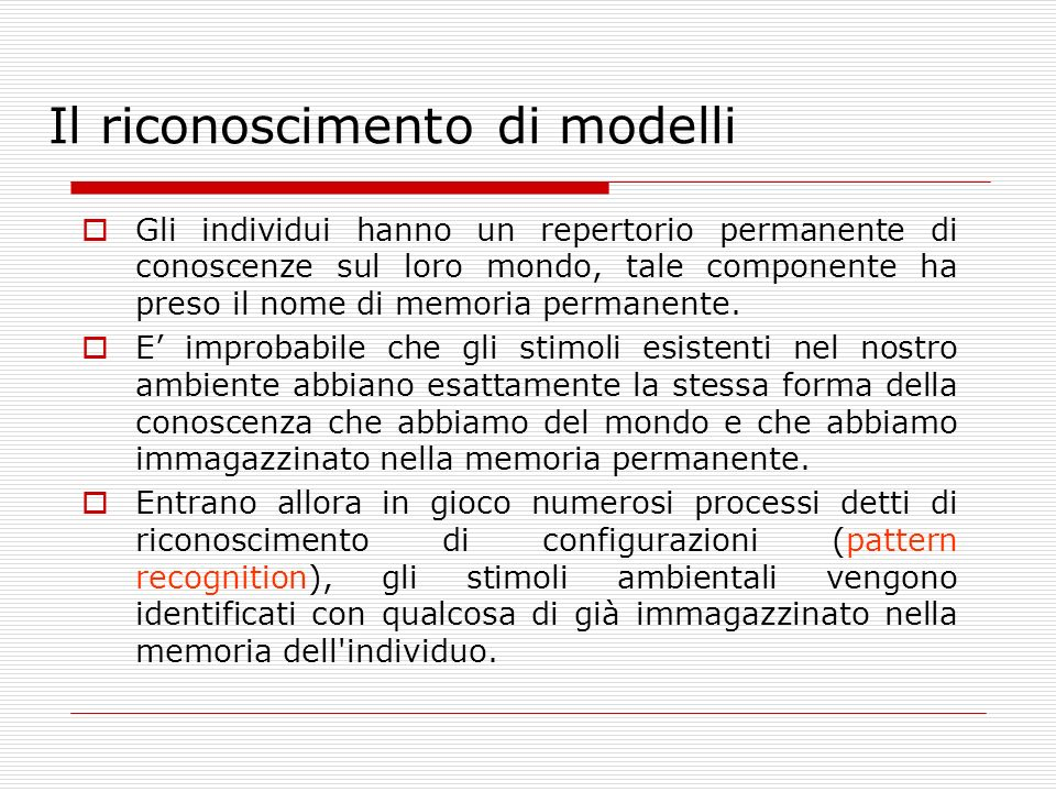 Il riconoscimento di modelli