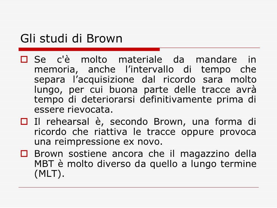 Gli studi di Brown