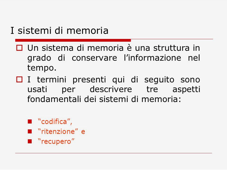 I sistemi di memoria Un sistema di memoria è una struttura in grado di conservare l'informazione nel tempo.