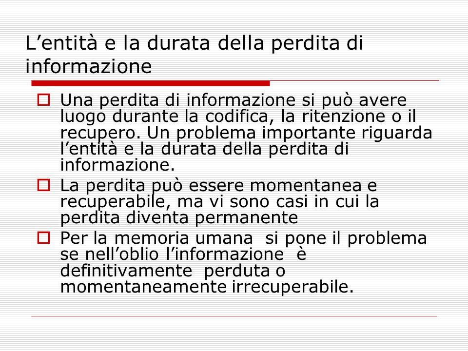 L'entità e la durata della perdita di informazione