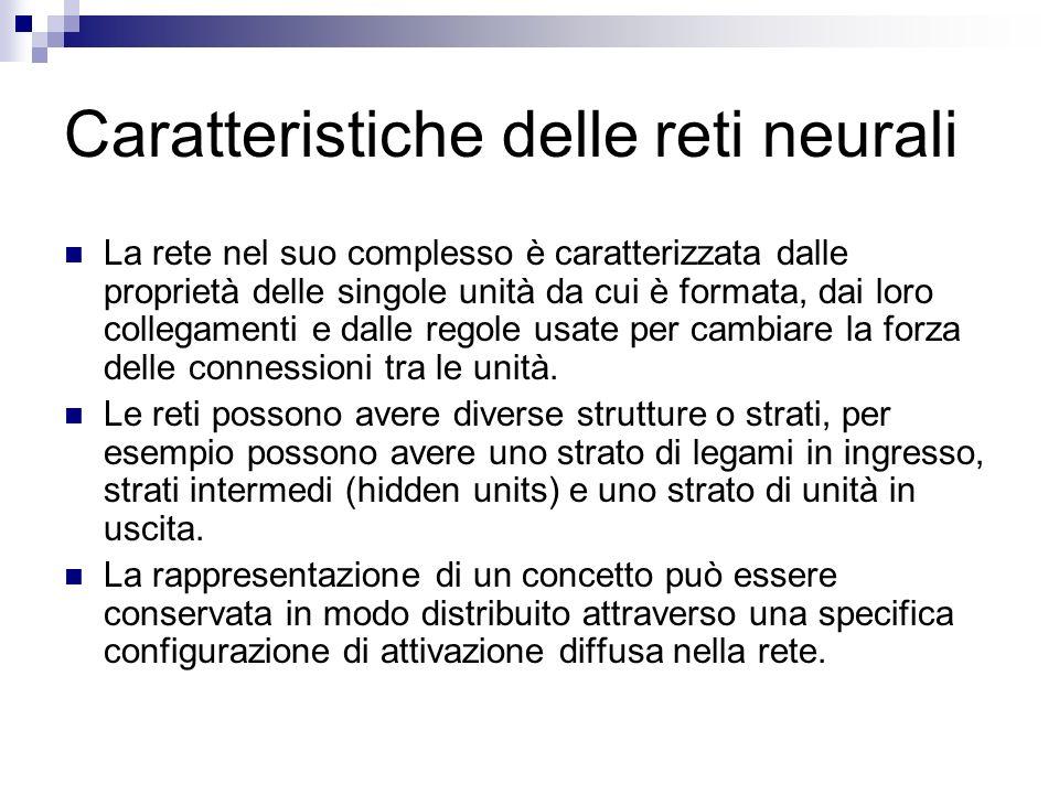 Caratteristiche delle reti neurali