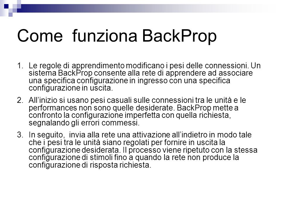 Come funziona BackProp
