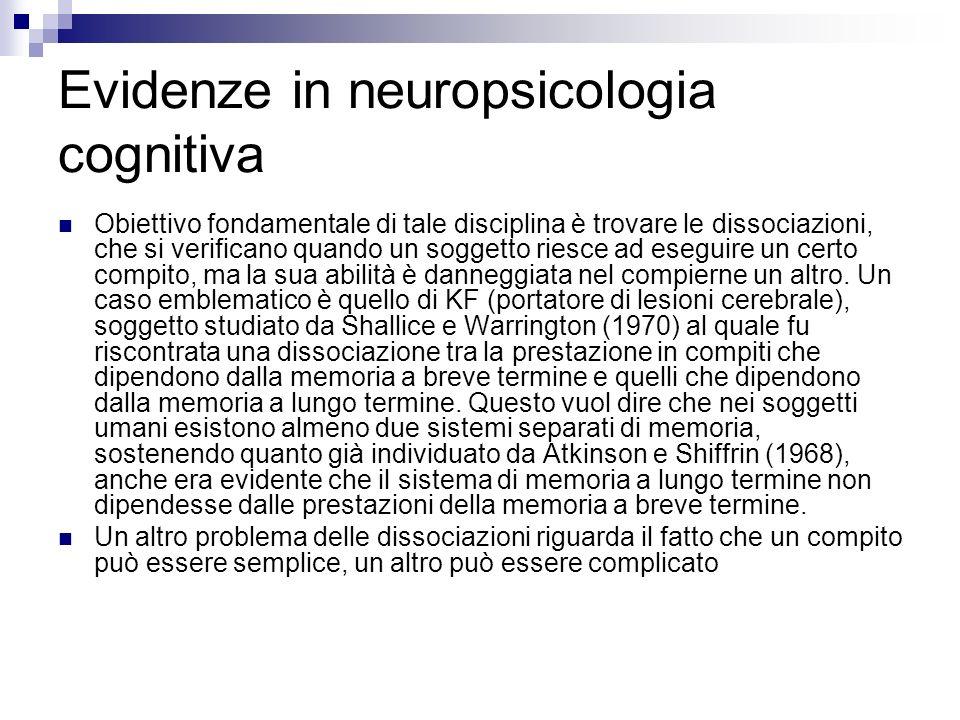 Evidenze in neuropsicologia cognitiva