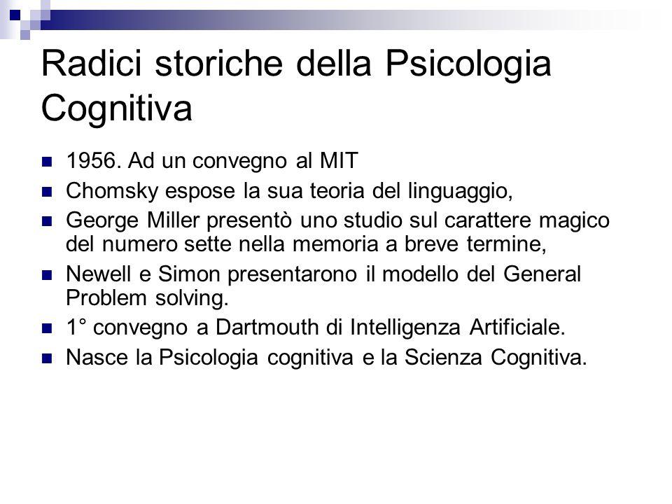 Radici storiche della Psicologia Cognitiva