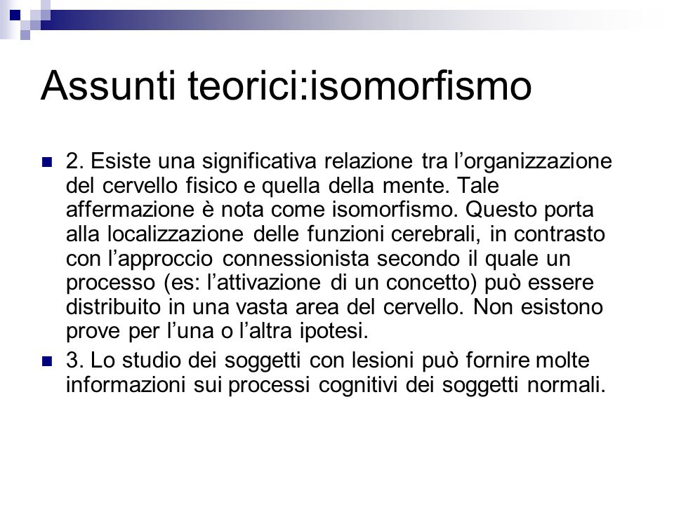 Assunti teorici:isomorfismo