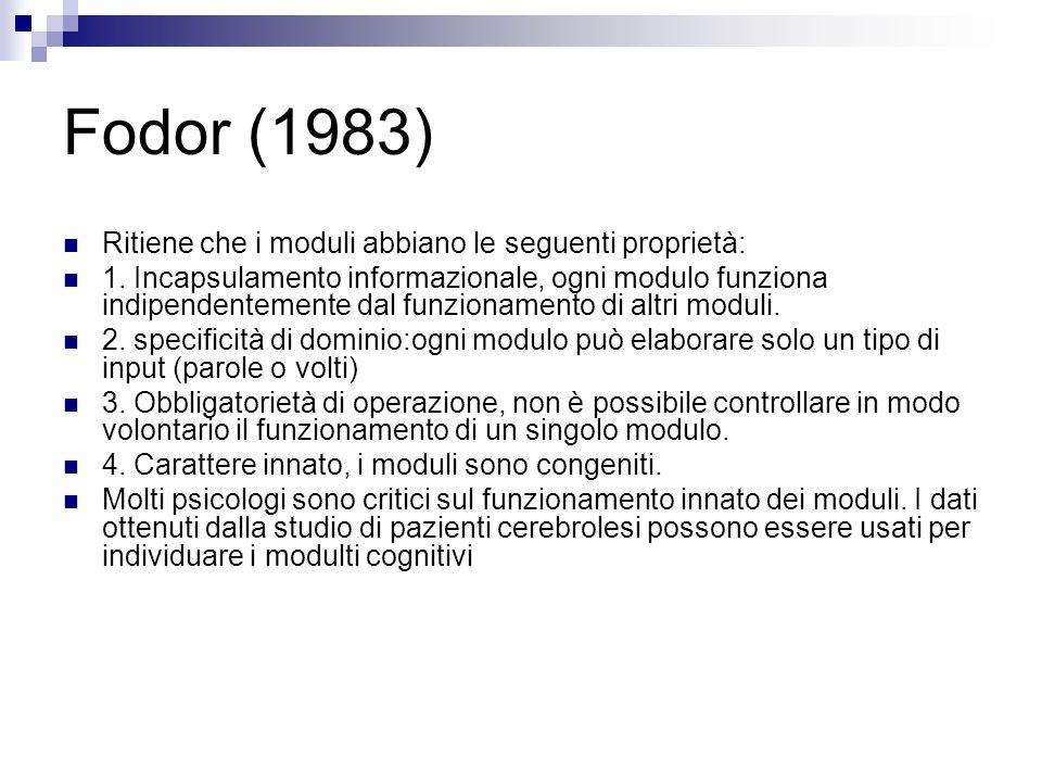 Fodor (1983) Ritiene che i moduli abbiano le seguenti proprietà: