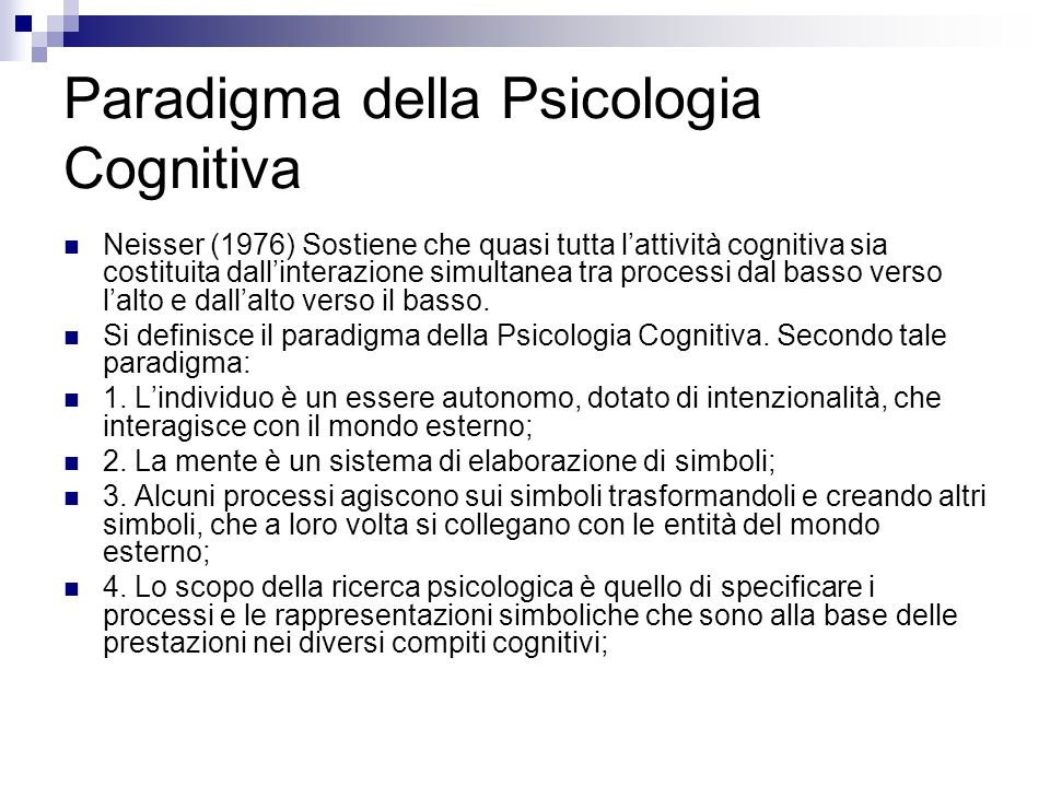 Paradigma della Psicologia Cognitiva