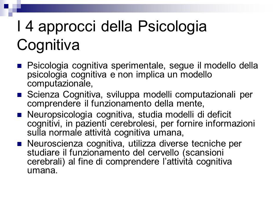 I 4 approcci della Psicologia Cognitiva