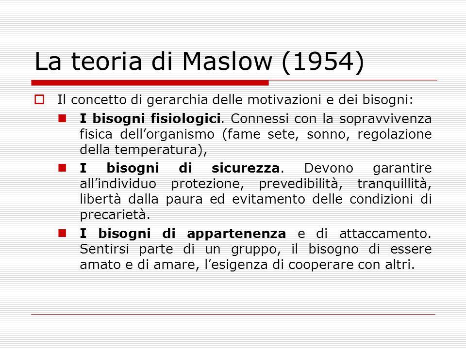La teoria di Maslow (1954) Il concetto di gerarchia delle motivazioni e dei bisogni:
