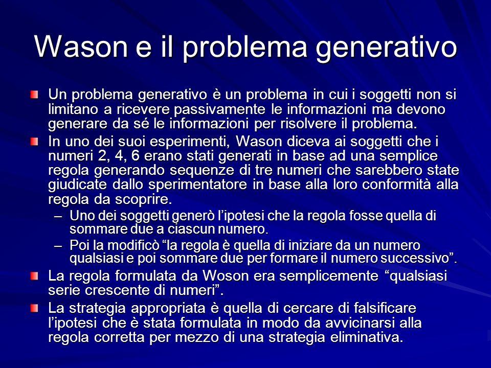 Wason e il problema generativo