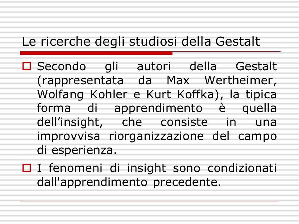 Le ricerche degli studiosi della Gestalt
