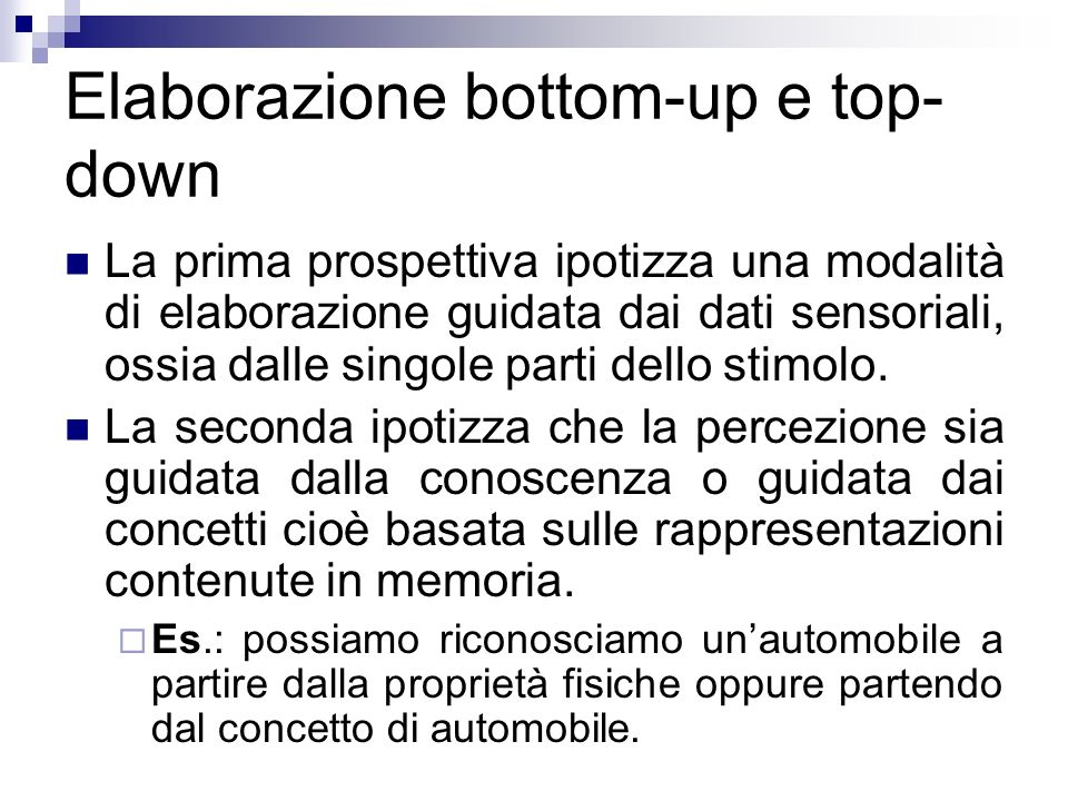 Elaborazione bottom-up e top-down