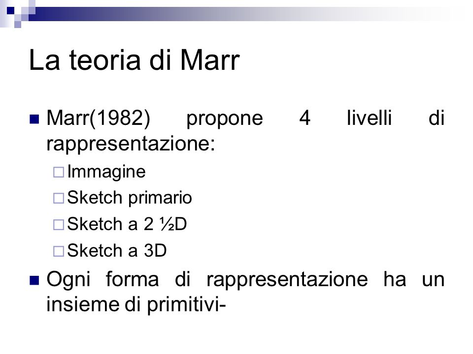 La teoria di Marr Marr(1982) propone 4 livelli di rappresentazione: