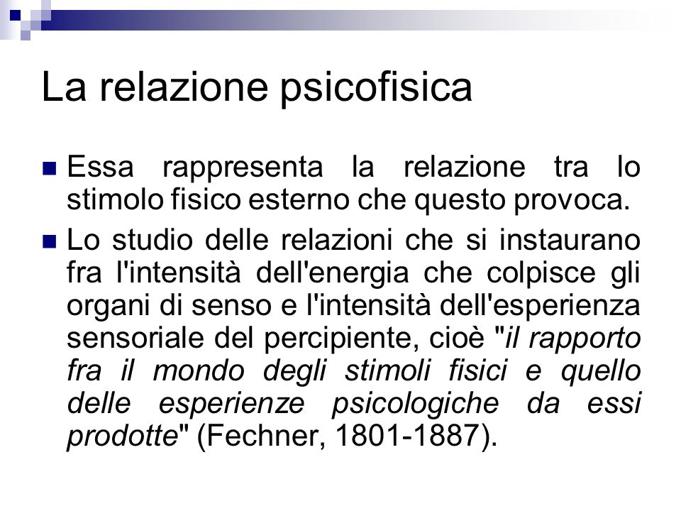 La relazione psicofisica