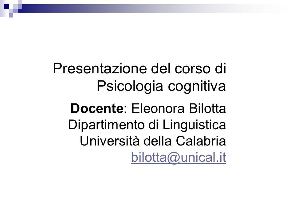 Presentazione del corso di Psicologia cognitiva