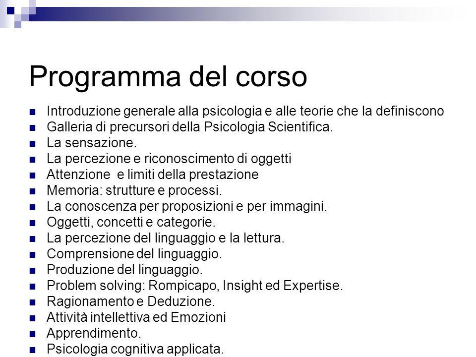 Programma del corsoIntroduzione generale alla psicologia e alle teorie che la definiscono. Galleria di precursori della Psicologia Scientifica.