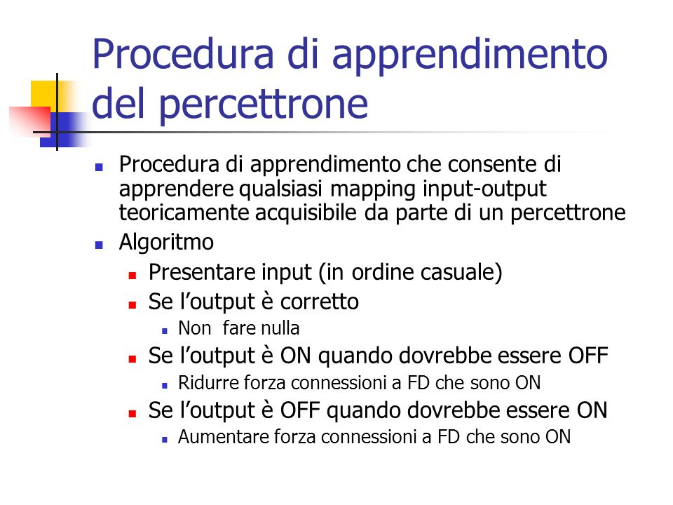 Procedura di apprendimento del percettrone