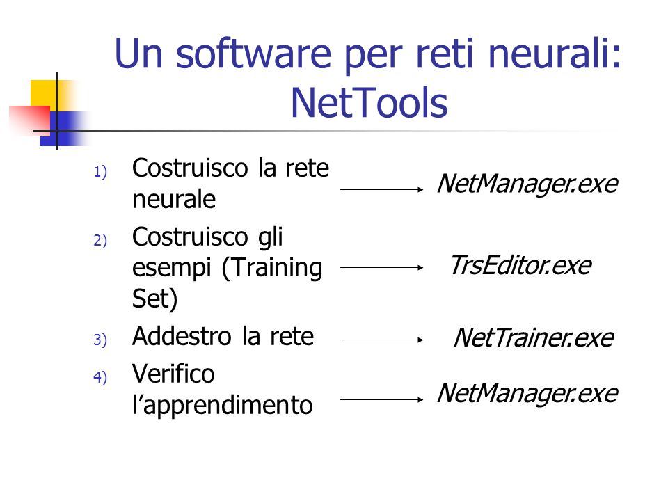Un software per reti neurali: NetTools