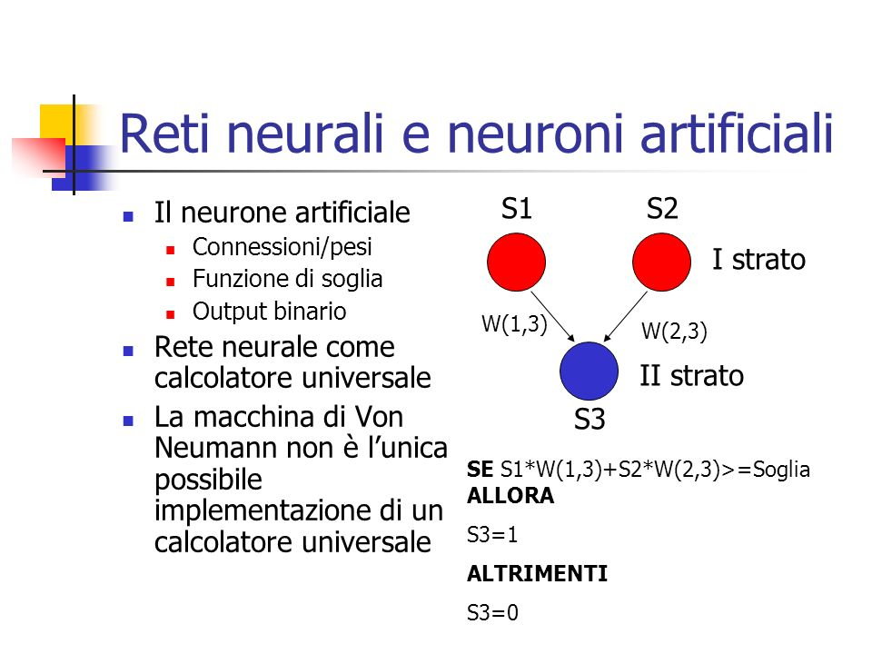 Reti neurali e neuroni artificiali