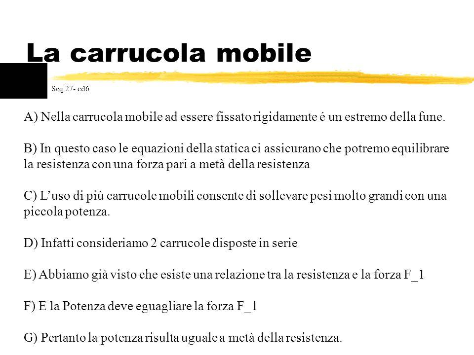 La carrucola mobileSeq 27- cd6. A) Nella carrucola mobile ad essere fissato rigidamente é un estremo della fune.