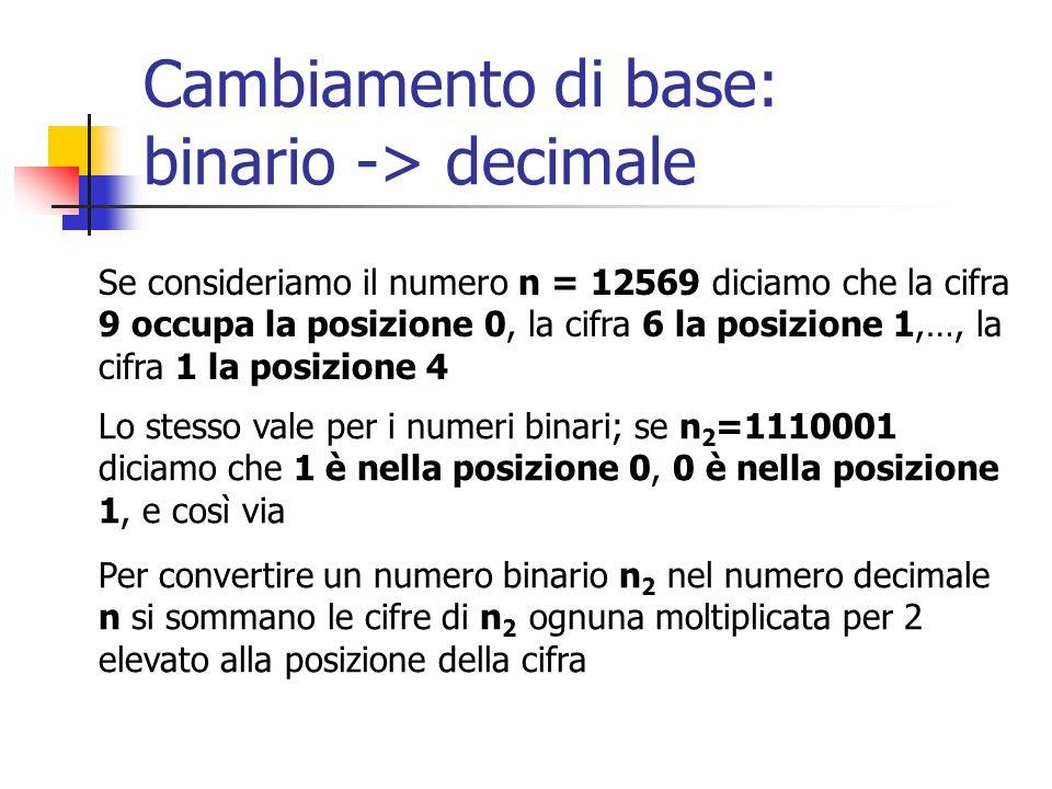 Cambiamento di base: binario -> decimale