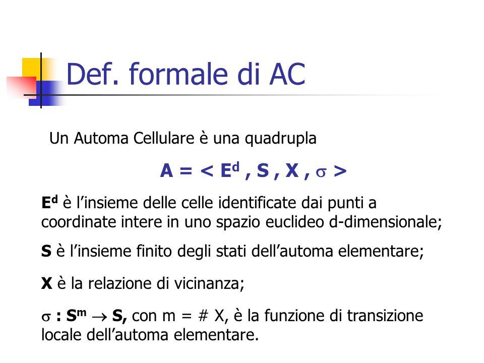 Def. formale di AC A = < Ed , S , X ,  >