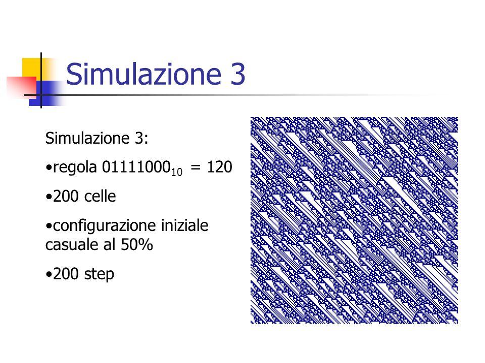 Simulazione 3 Simulazione 3: regola 0111100010 = 120 200 celle