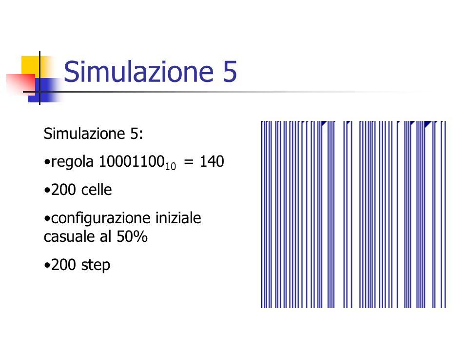 Simulazione 5 Simulazione 5: regola 1000110010 = 140 200 celle