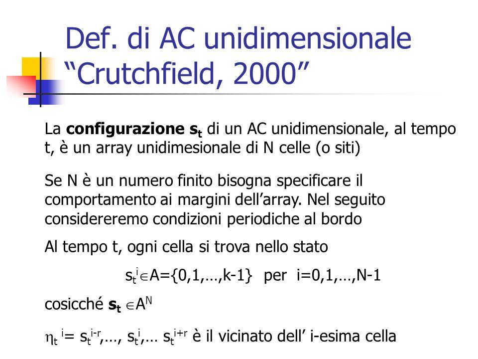 Def. di AC unidimensionale Crutchfield, 2000