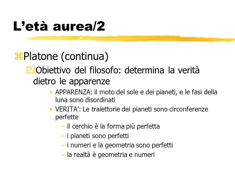 L'età aurea/2 Platone (continua)
