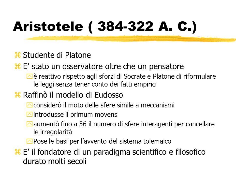 Aristotele ( 384-322 A. C.) Studente di Platone