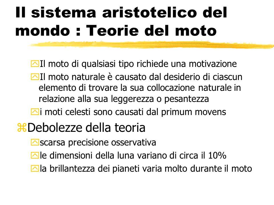 Il sistema aristotelico del mondo : Teorie del moto