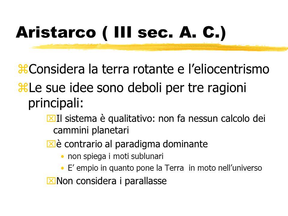 Aristarco ( III sec. A. C.)Considera la terra rotante e l'eliocentrismo. Le sue idee sono deboli per tre ragioni principali: