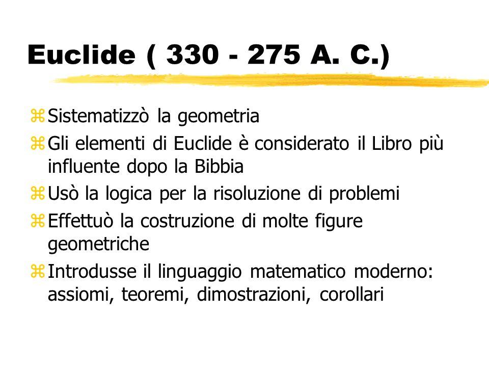 Euclide ( 330 - 275 A. C.) Sistematizzò la geometria