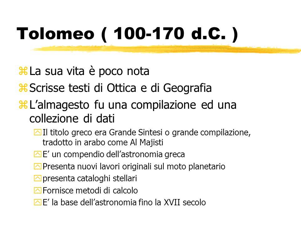 Tolomeo ( 100-170 d.C. ) La sua vita è poco nota