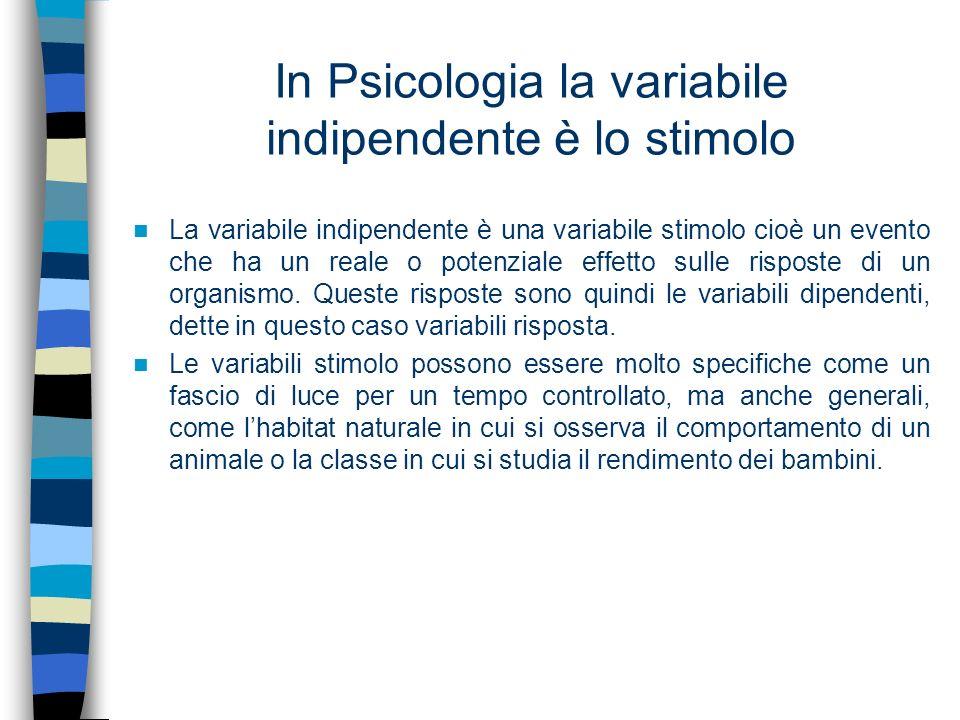 In Psicologia la variabile indipendente è lo stimolo