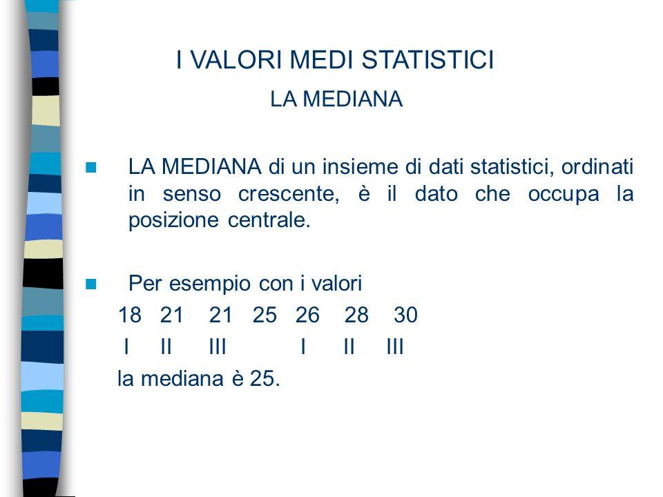 I VALORI MEDI STATISTICI LA MEDIANA