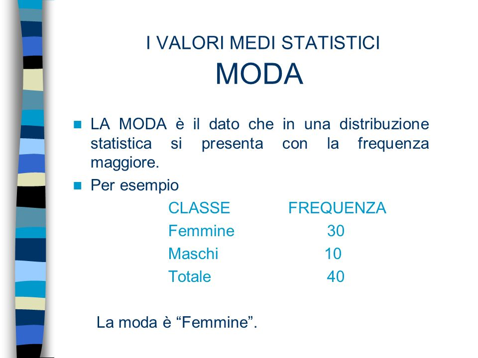 I VALORI MEDI STATISTICI MODA