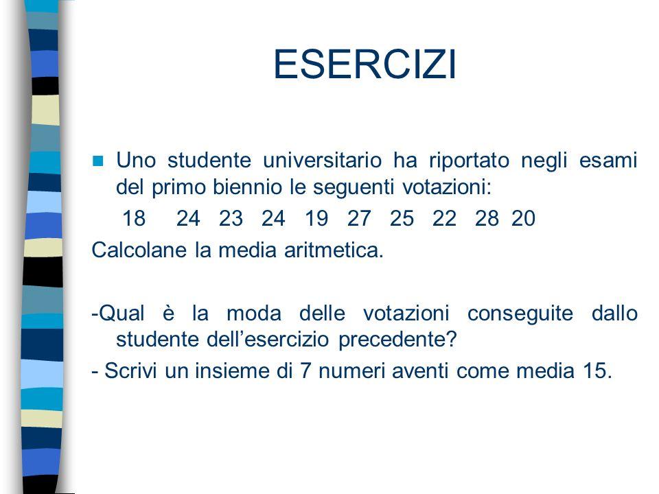 ESERCIZI Uno studente universitario ha riportato negli esami del primo biennio le seguenti votazioni: